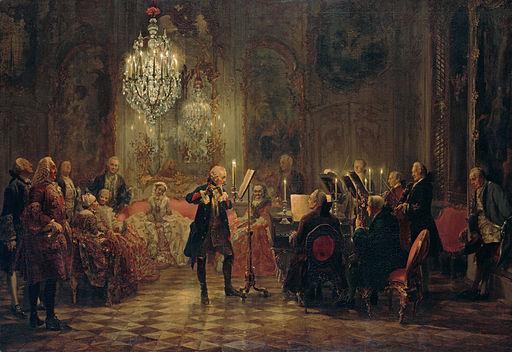 アドルフ・メンツェル サンスーシ宮殿でのフリードリヒ大王のフルートコンサート