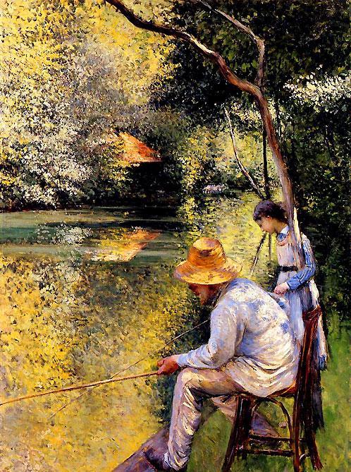 ギュスターヴ・カイユボット イエール川畔の釣り人