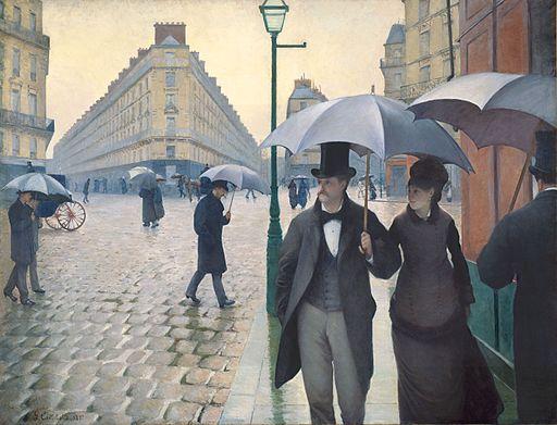 ギュスターヴ・カイユボット パリの通り、雨