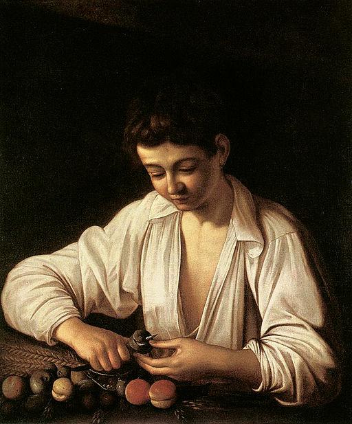 ミケランジェロ・メリージ・ダ・カラヴァッジオ 果物の皮を剥く少年