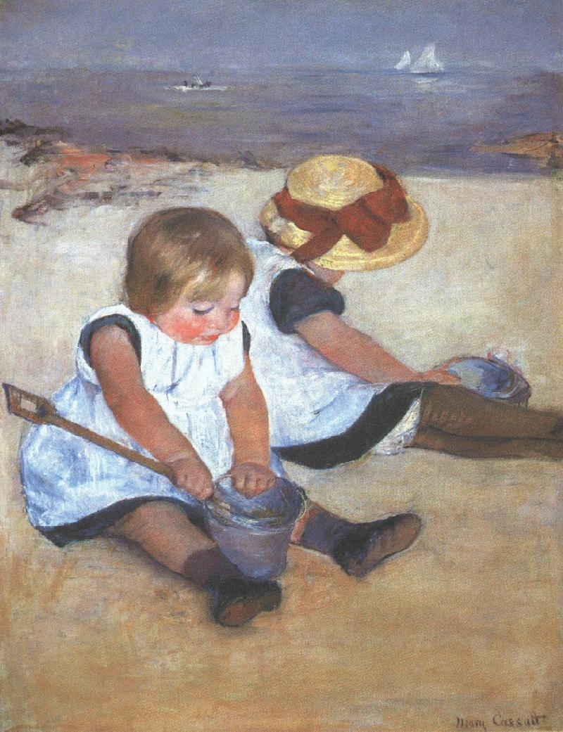 メアリー・カサット 浜辺の子供
