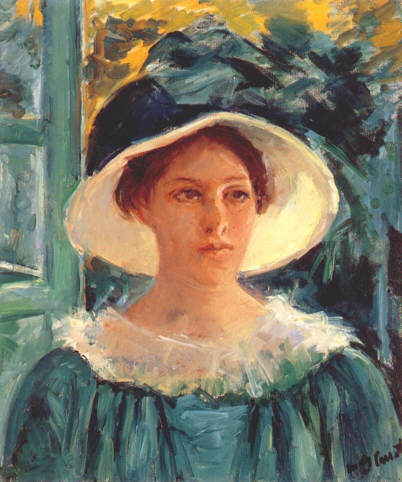 メアリー・カサット 緑色の服を着た女性