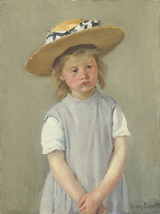 メアリー・カサット 麦藁帽子の子供