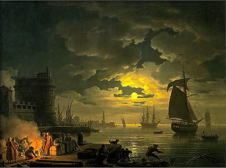 クロード=ジョセフ・ヴェルネ パレルモ港の入り口、月夜