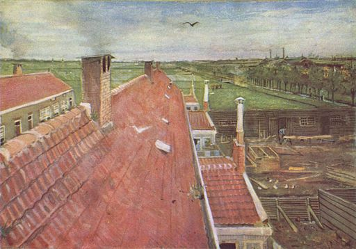 フィンセント・ファン・ゴッホ 屋根、ハーグのアトリエからの眺め