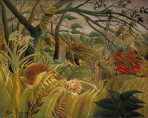 アンリ・ルソー 熱帯嵐のなかのトラ