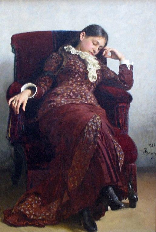 イリヤ・レーピン 休息 - 妻ヴェーラ・レーピナの肖像