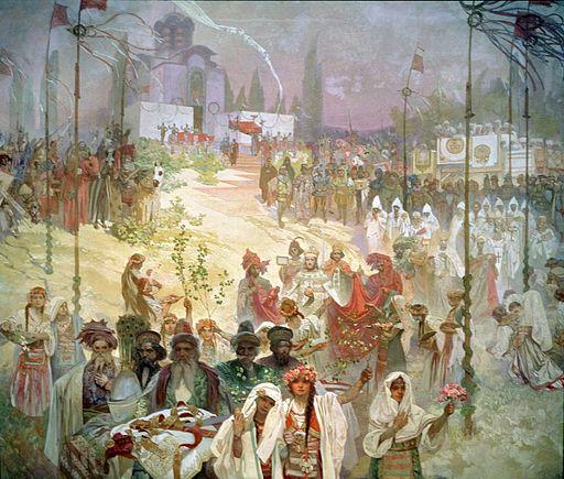 アルフォンス・ミュシャ セルビア皇帝ドゥシャンの東ローマ帝国皇帝即位 — スラヴの法典