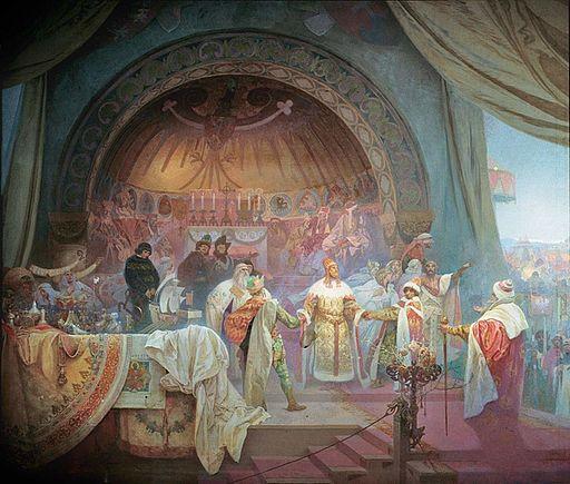 アルフォンス・ミュシャ ボヘミア王プシェミスル・オタカル2世 — スラヴ王朝の統一