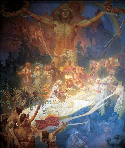 アルフォンス・ミュシャ スラヴの歴史の神格化 — 人類のためのスラヴ民族
