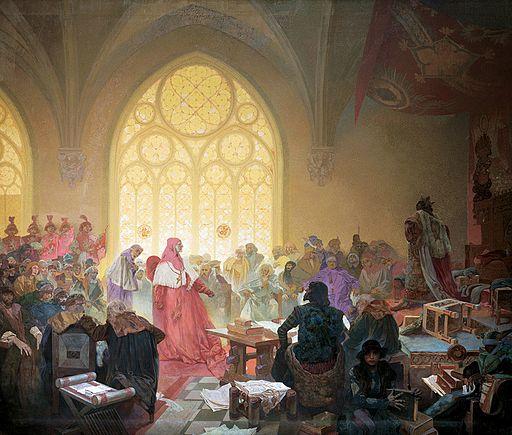 アルフォンス・ミュシャ フス教徒の国王ボジェブラディのイジー — 条約は尊重すべし