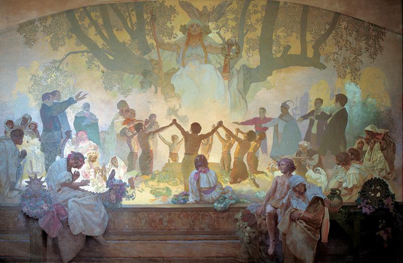 アルフォンス・ミュシャ スラヴの菩提樹の下で誓いを立てる若者たち — スラヴ民族の目覚め