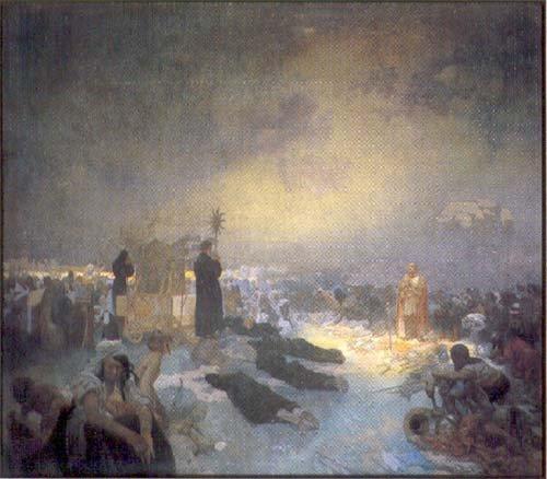 アルフォンス・ミュシャ ヴィトーコフの戦闘の後 — 神は権力でなく真理を伝える