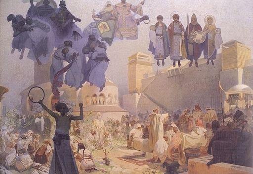 アルフォンス・ミュシャ 大ボヘミアにおけるスラヴ的典礼の導入 — 母国語で神をたたえよ