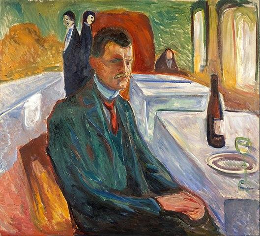 エドヴァルド・ムンク ワインのある自画像
