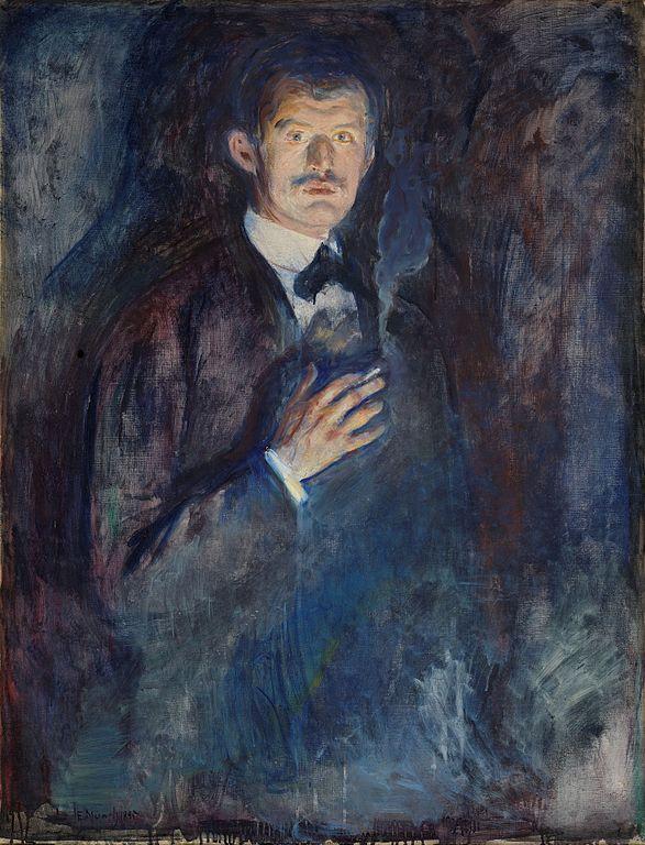 エドヴァルド・ムンク 煙草を持つ自画像