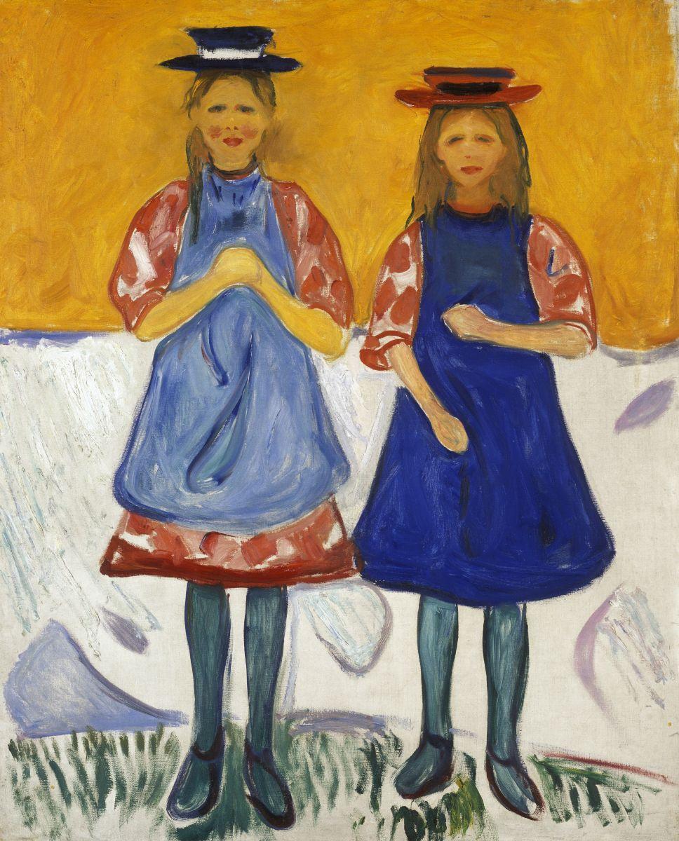 エドヴァルド・ムンク 青いエプロンの2人の少女