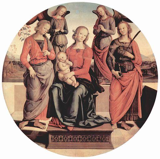 ピエトロ・ペルジーノ 玉座の聖母子と2聖人、2天使