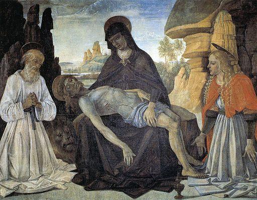 ピエトロ・ペルジーノ 聖ヒエロニムスと聖マグダラのマリアをともなうピエタ
