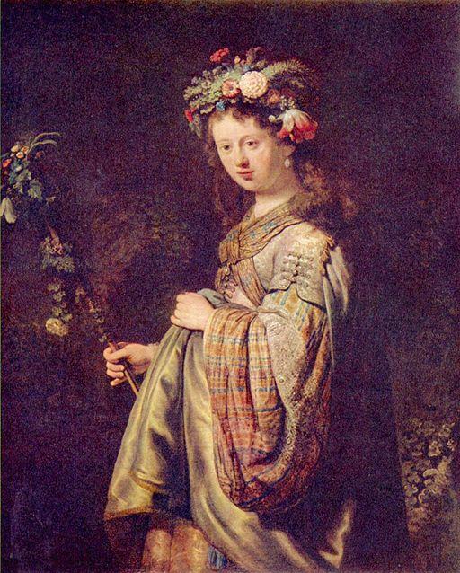レンブラント・ファン・レイン 春の女神フローラに扮したサスキア