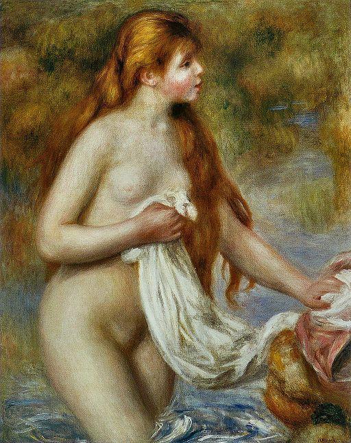 ピエール=オーギュスト・ルノワール 長い髪の浴女