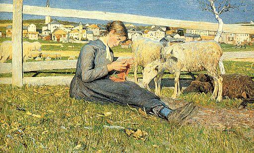 ジョヴァンニ・セガンティーニ 編み物をする娘