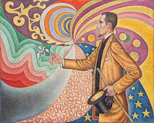 ポール・シニャック 七色に彩られた尺度と角度、色調と色相のリズミカルな背景のフェリックス・フェネオンの肖像