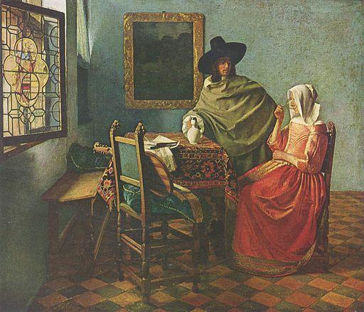 ヨハネス・フェルメール 紳士とワインを飲む女