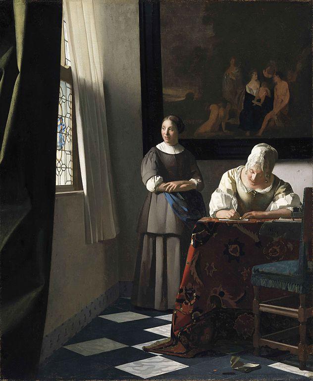 ヨハネス・フェルメール 手紙を書く婦人と召使